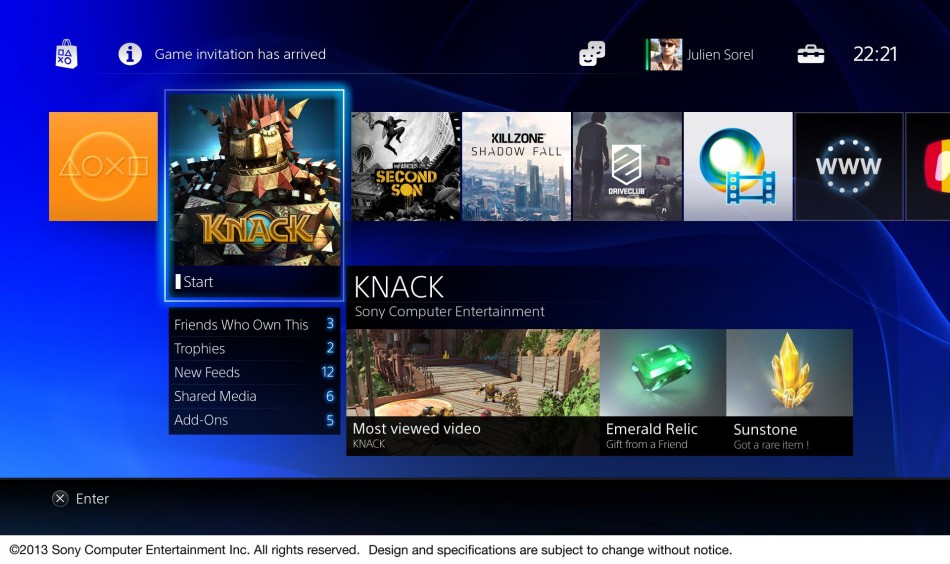 The multimedia interface on the PlayStation 4