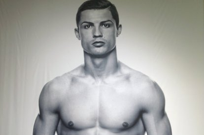 Ronaldo poses during the launching ceremony of his CR7 underwear line