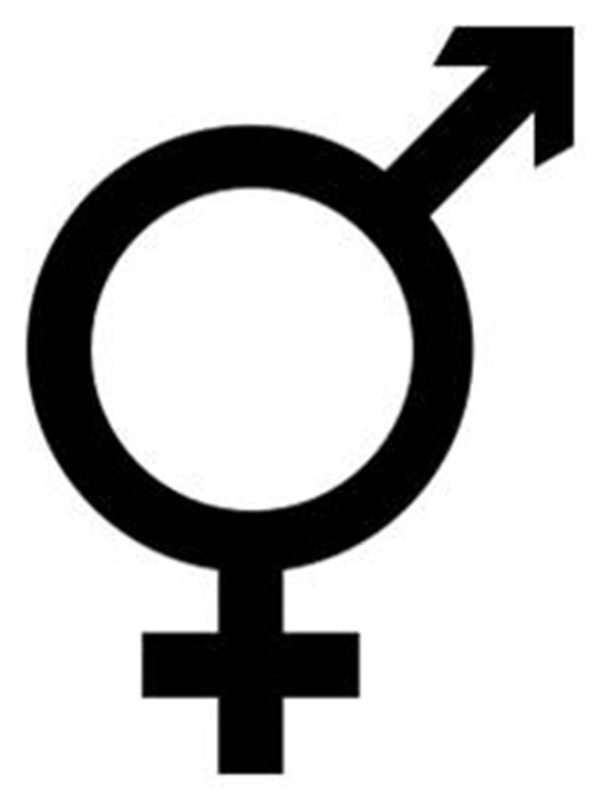 From the female and male symbols. Intersexual or transgender.