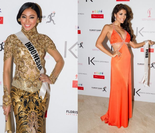 Miss Universe Indonesia and Miss Universe Peru show off their gorgeous gowns at National Gift Presentation and Auction. (Photo: MIss Universe Organization L.P., LLLP)