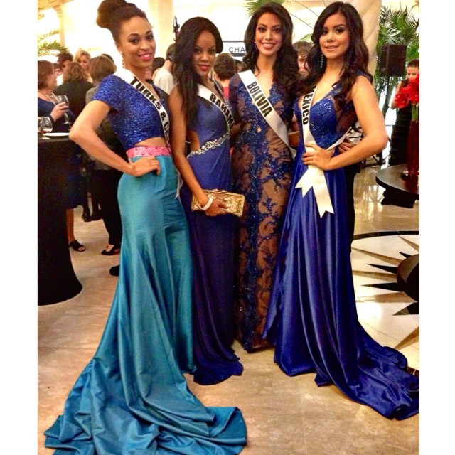 Miss Universe contestants dazzle in blue gowns. (Photo: MIss Universe Organization L.P., LLLP)