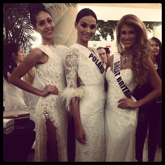 Vision in white: Misses Universe Honduras, Poland and Great Britain. (Photo: MIss Universe Organization L.P., LLLP)