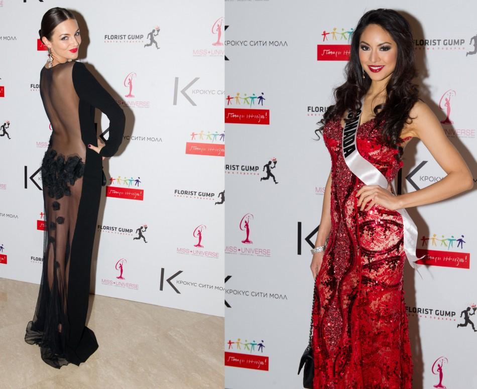Bold vs red: Vision in white: Simona Burbaite, Miss Universe Lithuania 2013 (L) and Riza Santos, Miss Universe Canada. (Photo: MIss Universe Organization L.P., LLLP)