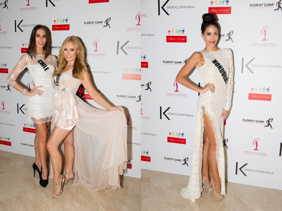 Miss Universe contestants look elegant in winter white lace dress and peach gown. (Photo: MIss Universe Organization L.P., LLLP)