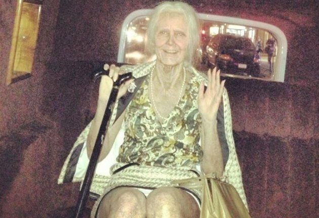Heidi Klum dressed up as an old lady, for her party at Marquee in New York City.(Facebook)