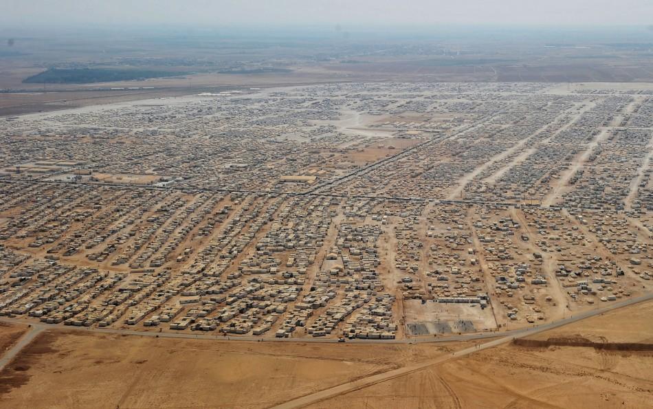 An aerial view shows the Zaatari refugee camp, near the Jordanian city of Mafraq