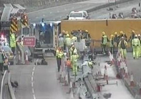 Rescue teams at scene of M25 lorry crash PIC: Highways Agency