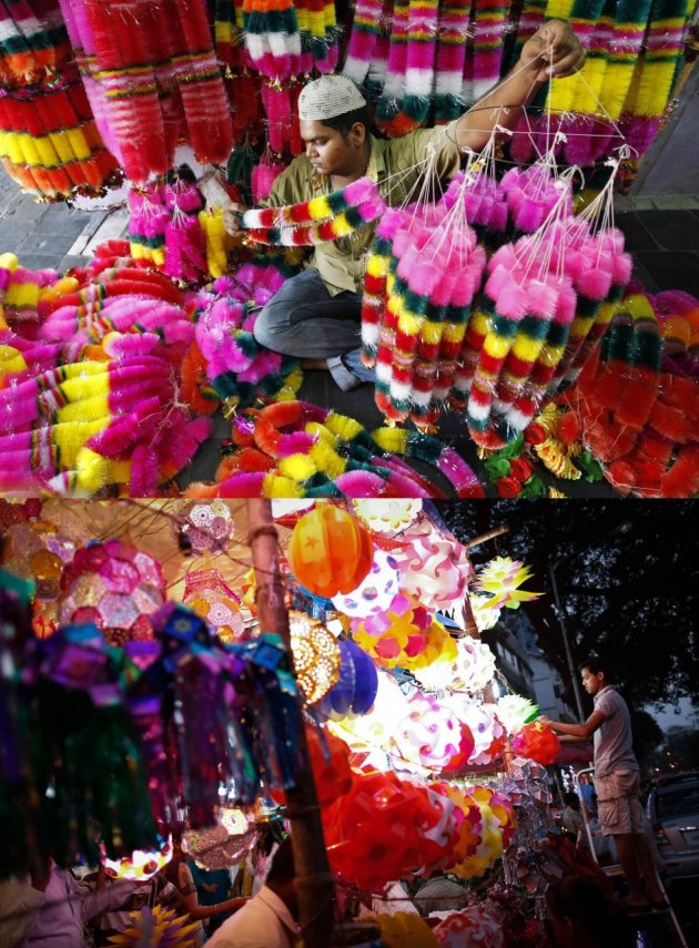 Vendors sell lanterns and garlands at a Diwali market in Mumbai. (Photo: REUTERS)