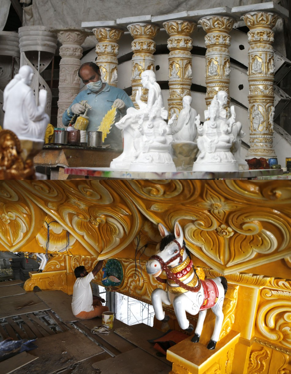 Artisans make idols and do decoration for Diwali. (Photo: REUTERS)