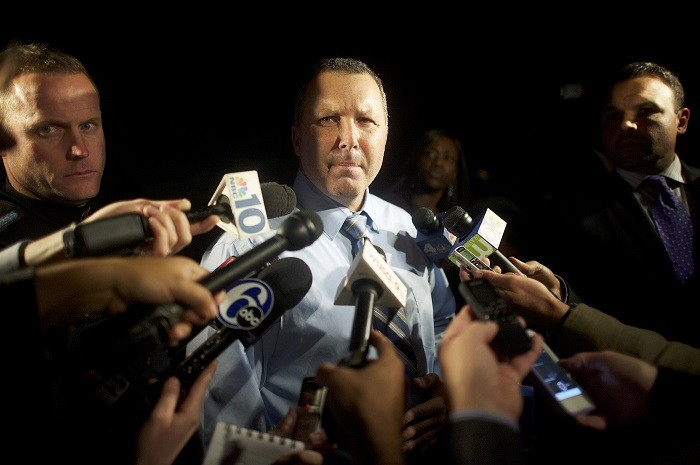 Pennsville Police Chief Allen Cummings speaks with the media (Picture: Reuters)