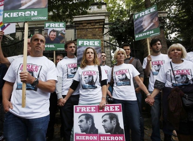 Kieron Bryan's supporters protest outside the Russian embassy in London