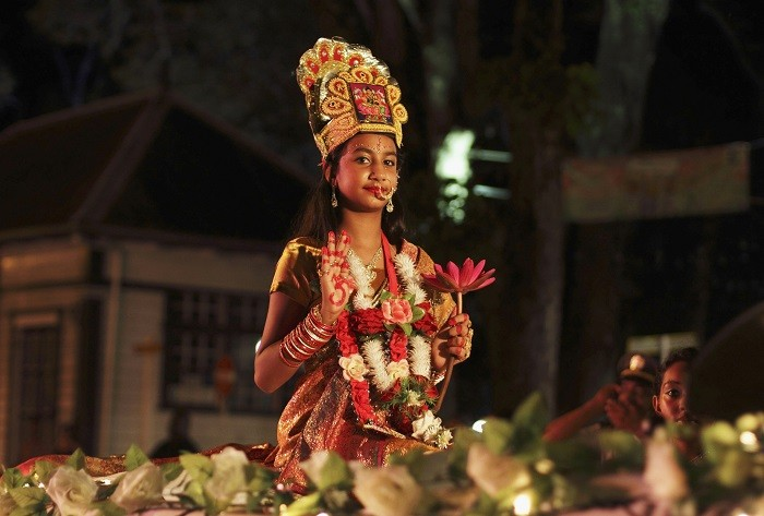 A Surinamese girl dressed as Lakshmi, the Hindu goddess of wealth. (Picture: Reuters)