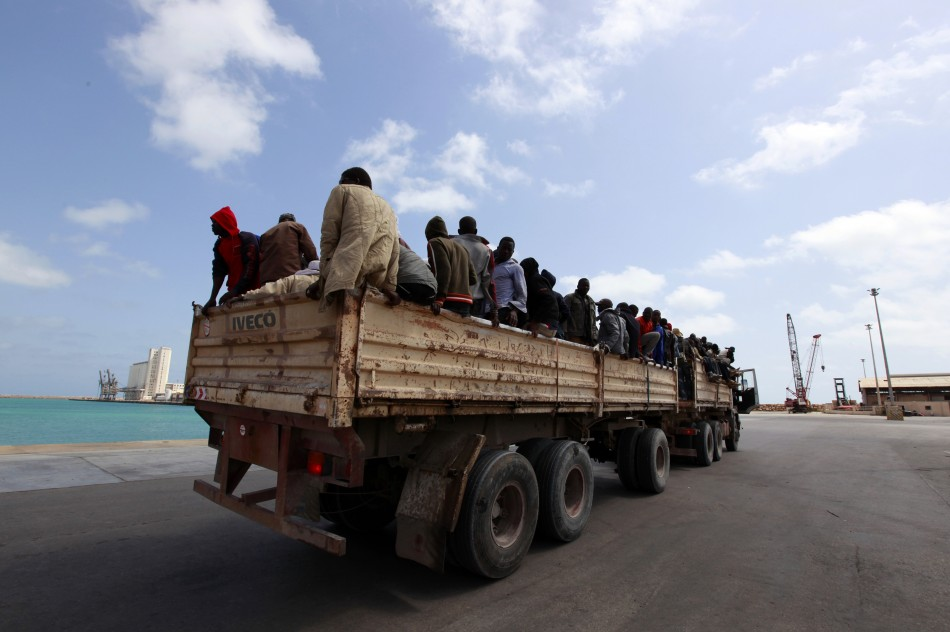 A truck of migrant workers from Niger in Misrata, Libya.