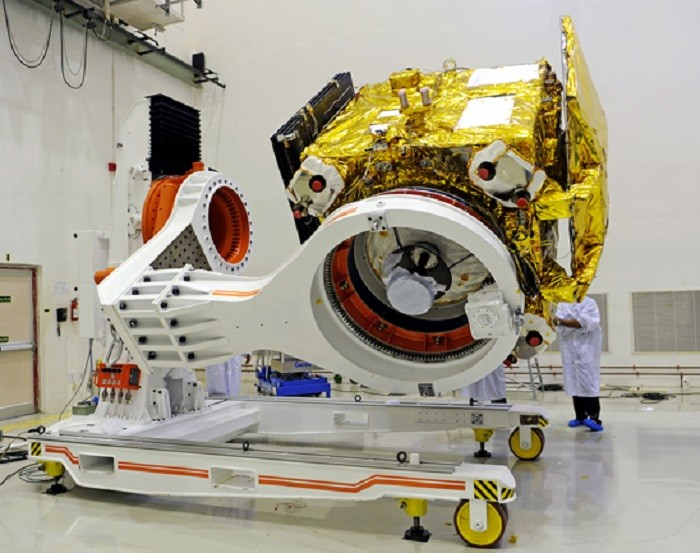 Mars Orbiter Mission Spacecraft attached to the 4th stage of PSLV-C25 and ready for heat shield closure. Picture: The Indian Space Research Organisation