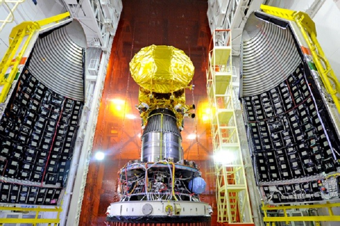 Mars Orbiter Mission Spacecraft attached to the 4th stage of PSLV-C25 and ready for heat shield closure. Picture: Indian Space Research Organisation
