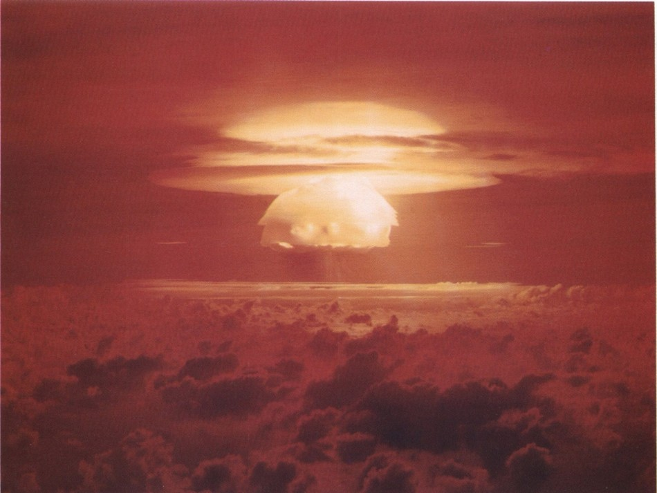 Nuclear weapon test on Bikini Atoll, 1954.