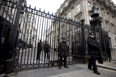 Police officers at Downing Street