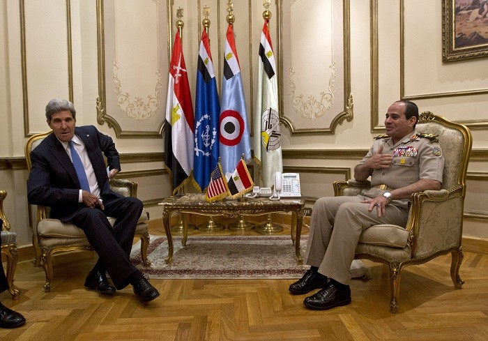US Secretary of State John Kerry meets Egypt's defence minister General Abdel Fattah el-Sisi on the first day of a Middle East tour.
