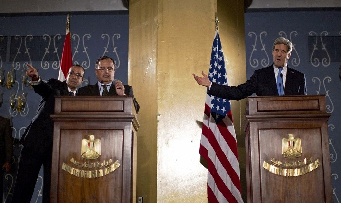 US Secretary of State John Kerry holds a joint press conference with Egypt's foreign minister Nabil Fahmy.
