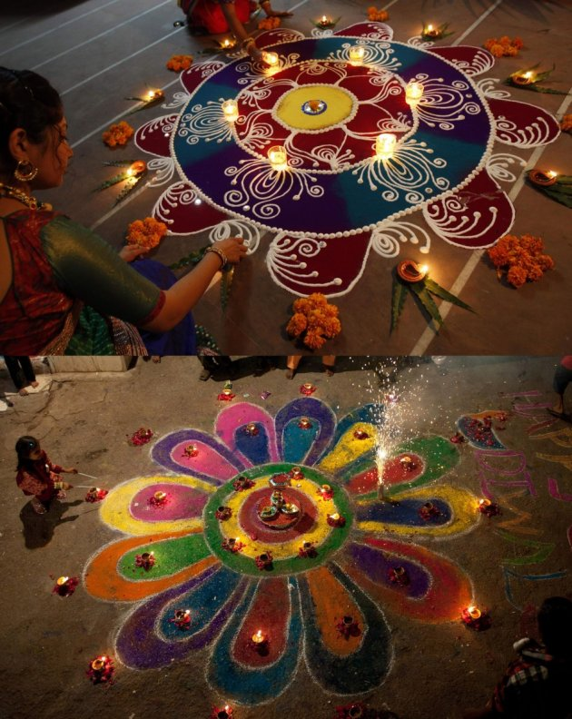 A Diwali of dissolving the borders: Hindu women arrange oil lamps and flowers around a Rangoli in Ahmedabad, India (Top), and a rangoli during Diwali celebrations in Karachi, Pakistan. (Photo: Reuters)