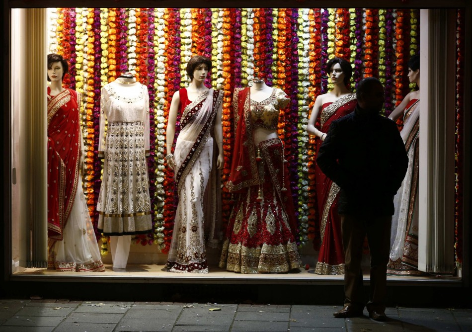 A shop selling saris during Diwali celebrations in Leicester. Diwali is also about wearing traditional dresses. (Photo: Reuters)