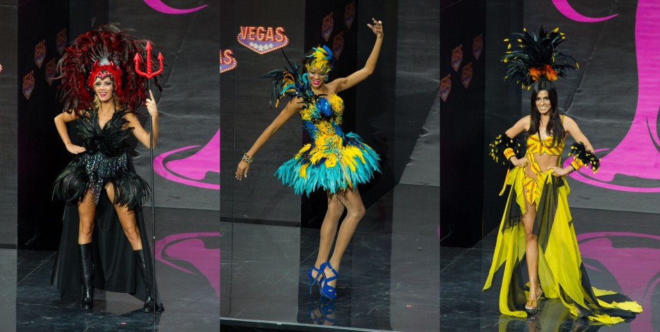 Left to Right: Misses Belgium, Bahamas and Colombia.  (Photo: MIss Universe Organization L.P., LLLP)