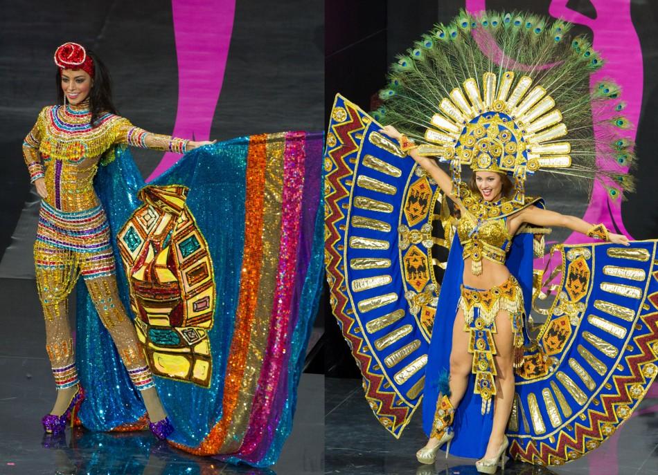 Miss Bolivia (L) and Miss Ecuador. (Photo: Miss Universe Organization L.P., LLLP)