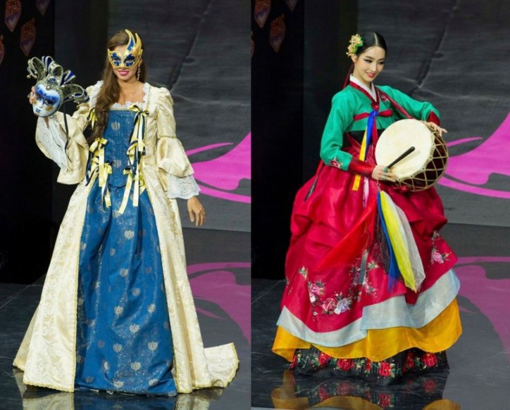 Luna Voce, Miss Italy 2013 (L) and Yumi Kim, Miss Korea 2013, model in the national costume contest. (Photo: Reuters)