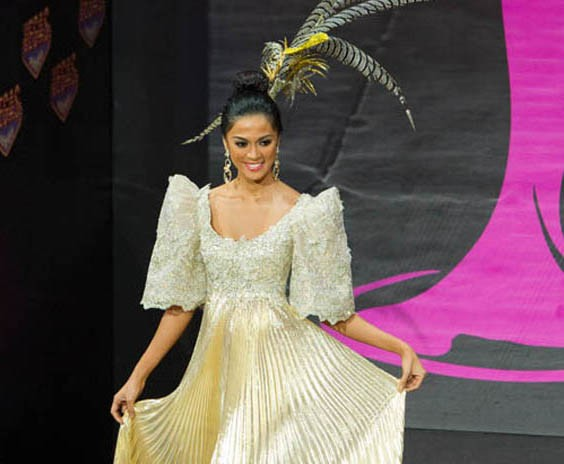 Miss Philippines Ariella Arida in traditional terno dress for National Costumes round. (Miss Universe Organization)