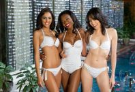 Miss Universe Turkey 2013, Miss Universe Namibia 2013 and Miss Universe Singapore 2013, pose in their 2014 YAMAMAY FOR MISS UNIVERSE collection at the Crowne Plaza Moscow World Trade Centre, on October 22, 2013. (Photo: Miss Universe organization)