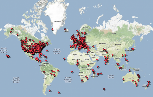 Anonymous Million Mask March Map