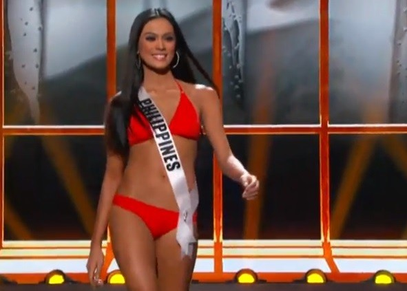 Miss Philippines got a big cheer in the swimwear contest PIC: Miss Universe