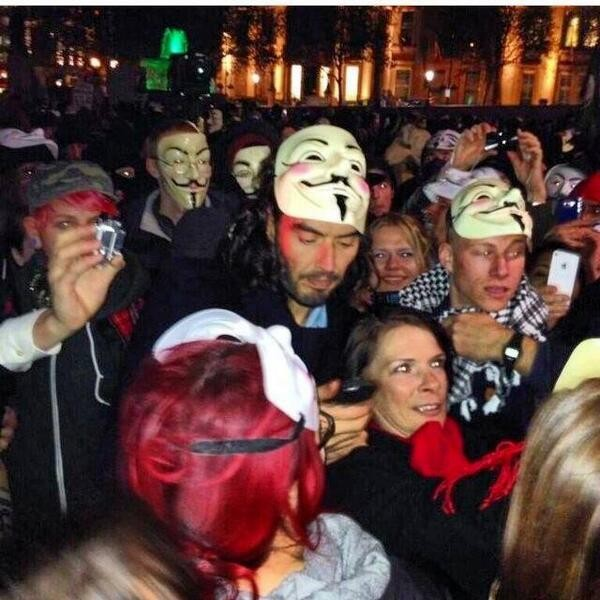 Russell Brand at Anonymous Million Mask March in London