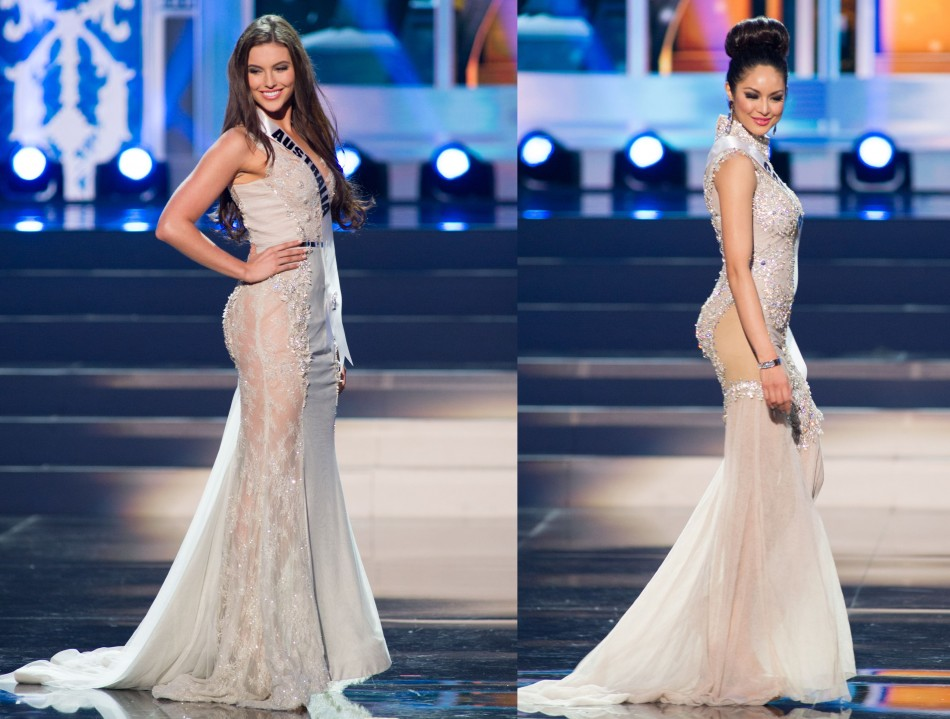 Olivia Wells, Miss Universe Australia 2013 (L) and Riza Santos, Miss Universe Canada, flaunt their curvaceous gowns. (Photo: Miss Universe L.P., LLLP)