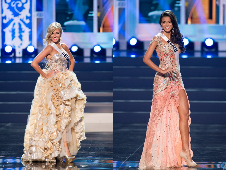 Misses Universe Belgium and Brazil show off their evening gowns. (Photo: Miss Universe L.P., LLLP)