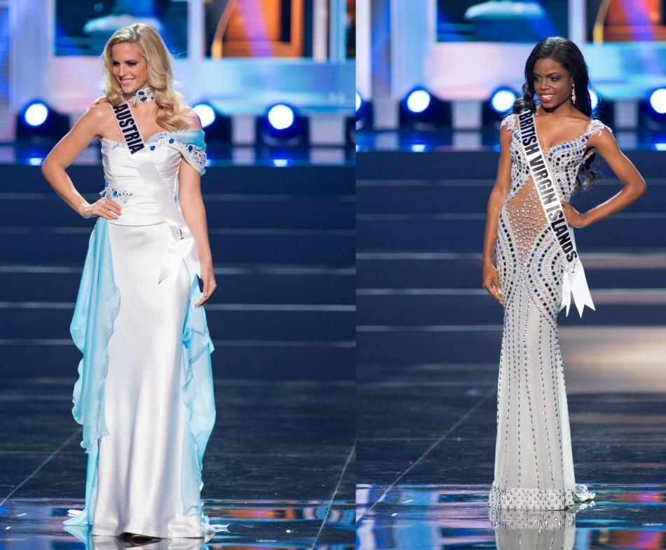 Miss Austria sports baby blue and cream ensemble. (Photo: Miss Universe L.P., LLLP)
