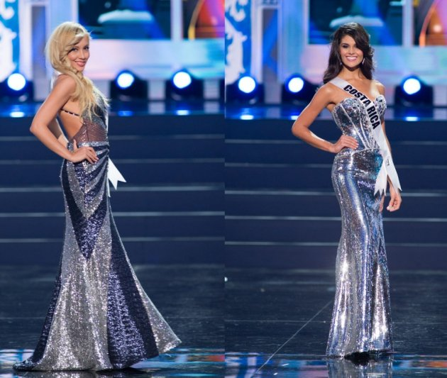 Metallic touch: Misses Universe Bulgaria (L) and Costa Rica. (Photo: Miss Universe L.P., LLLP)
