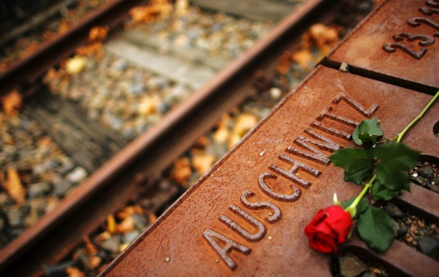 A red rose lies at Gleis 17 (platform 17) holocaust memorial at a former cargo railway station in Berlin-Grunewald November 9, 2006, to mark the Kristallnacht, or Night of Broken Glass (Photo: Reuters)