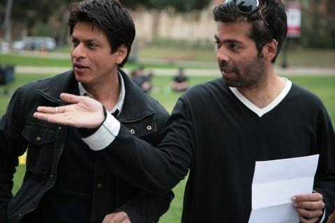 Shahrukh Khan and Karan Johar on a film set
