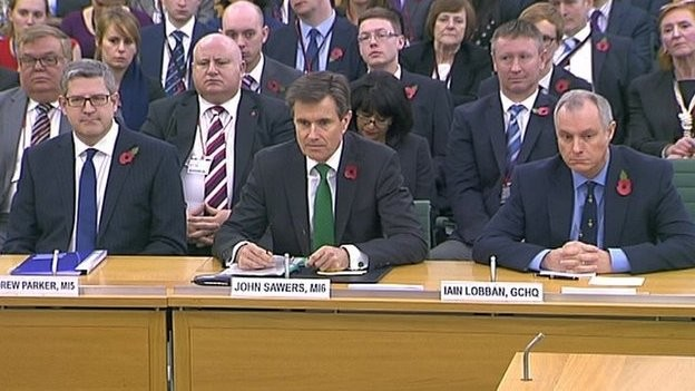 Andrew Parker was being grilled alongside GCHQ director Sir Iain Lobban and MI6 chief Sir John Sawers in an unprecedented public hearing.
