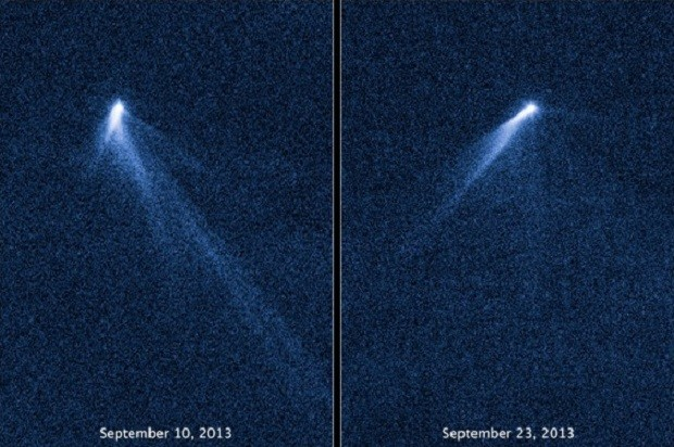 Asteroid P/2013 P5 with its multiple tails picture 13 days apart Credit: NASA, ESA, and D. Jewitt (UCLA)