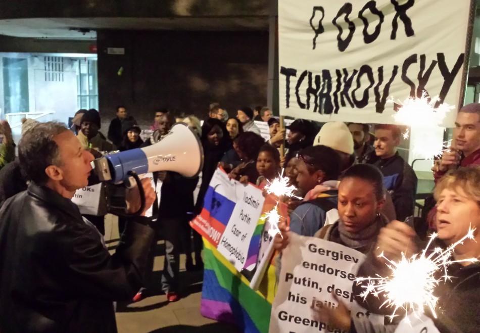Peter Tatchell LGBT anit-putin protest