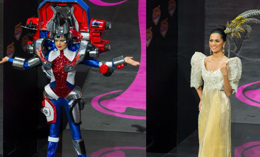 Miss USA Erin Brady in Transformers inspired outfit, while Miss Philippines Ariella Arida shows off traditional terno dress. (Photo: Miss Universe)