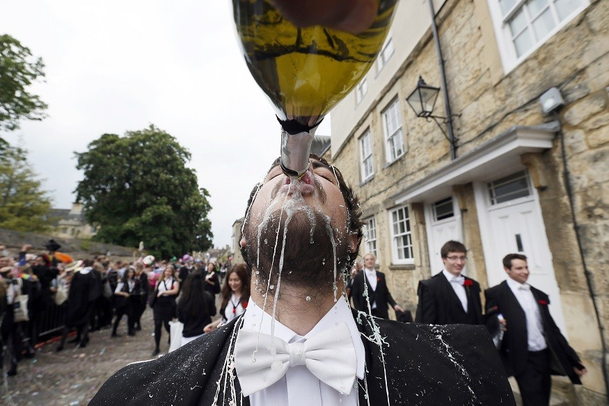 Oxford University student downing champagne could knock wealthy Arab\'s vision of institution as height of good taste PIC: Reuters