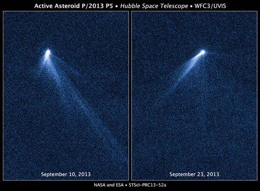 The asteroid, named P/2013 P5, was seen shooting matter from its surface by Hubble.