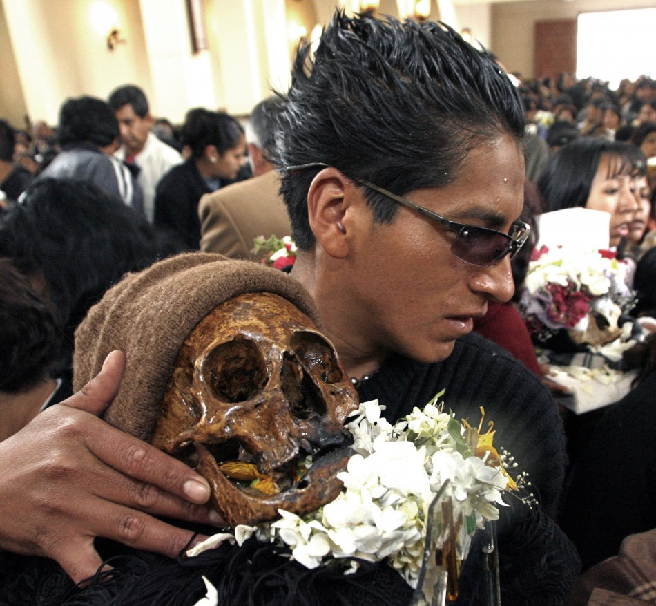 Bolivians bring skulls to the cemetery chapel once a year to have the craniums blessed.