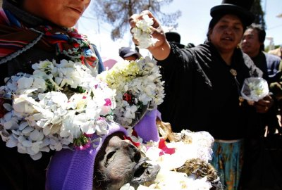 A skull with its skin still intact is displayed during a Dia de los natitas Day of the Skull ceremony at a cemetery in La Paz.