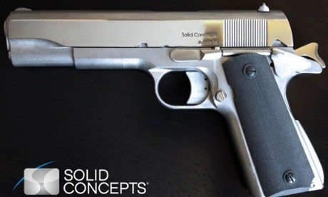 The Solid Concepts manufactured 3D printed metal pistol.