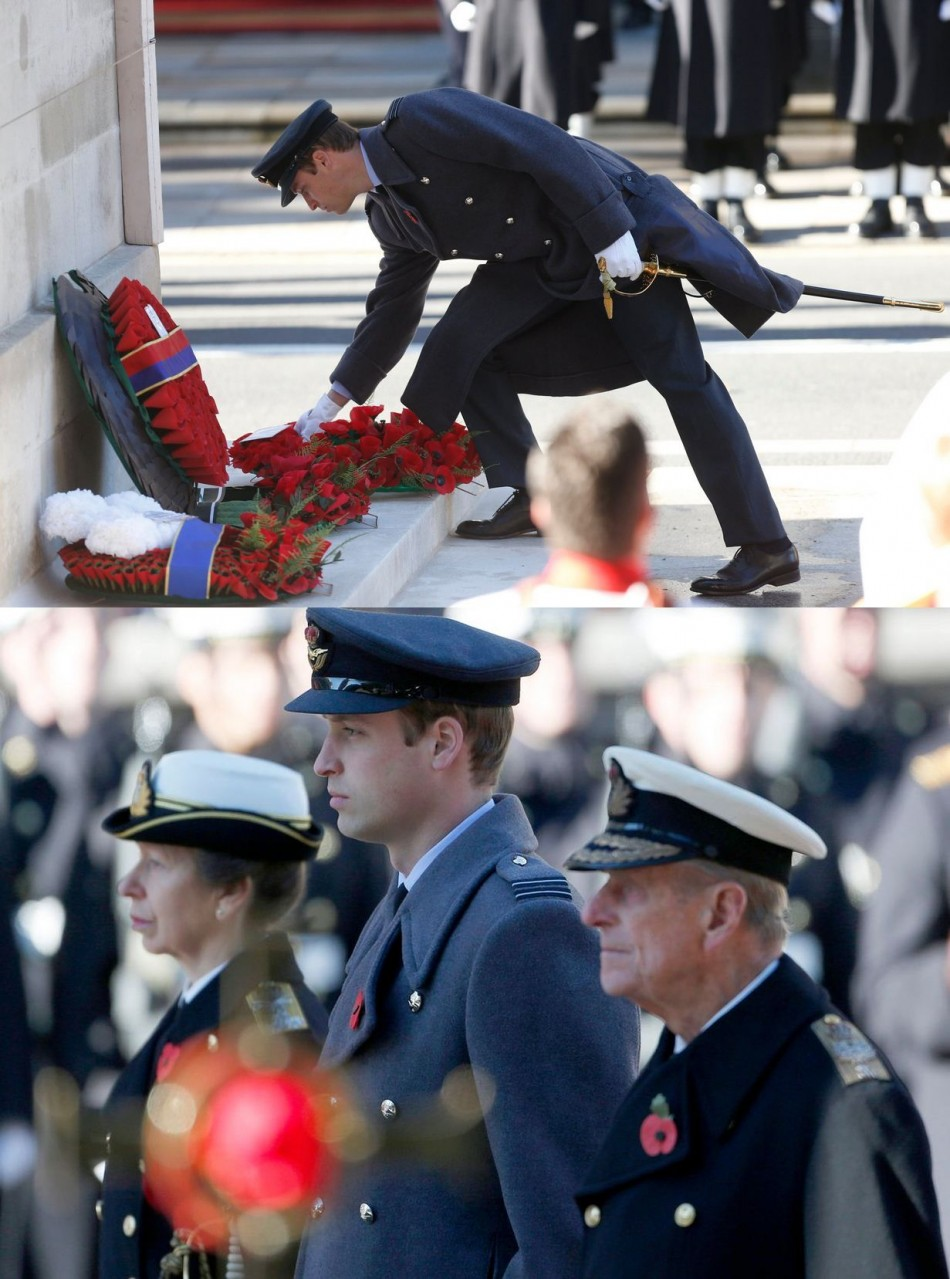 Prince William lays a wreath (Top) and is joined by Princess Anne and Prince Philip at the annual Remembrance Sunday ceremony at the Cenotaph. (Photo: REUTERS/Suzanne Plunkett)