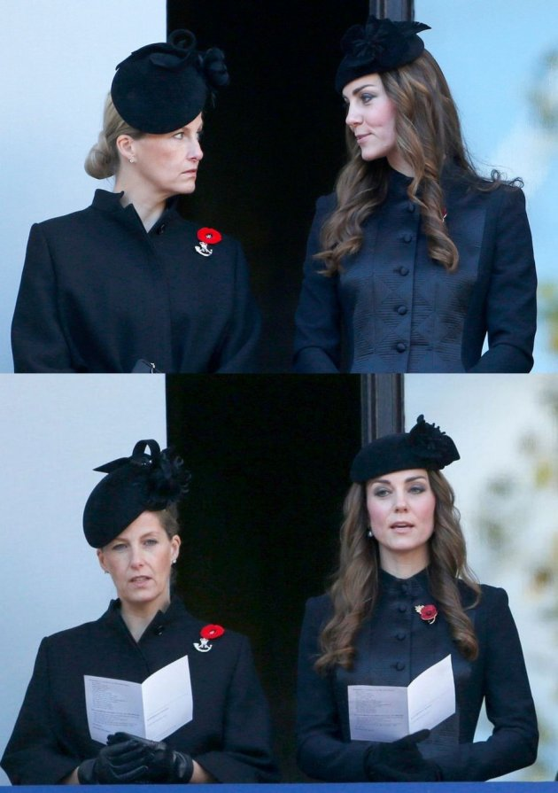 Kate Middleton observes the ceremony along with Sophie, Countess of Wessex, from a balcony. (Photo: REUTERS/Suzanne Plunkett)